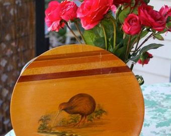 Gorgeous Vintage  1960's Kiwi bird wooden plate