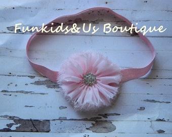 Baby Pink Chiffon frayed Flower Headband-