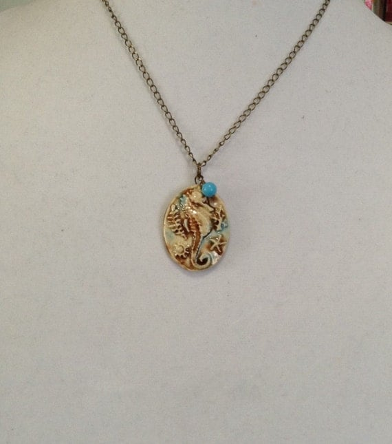 Ceramic Seahorse Pendant and Turquoise Necklace N6151713