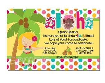 Luau Invitation Birthday Party - DIGITAL or PRINT YOURSELF