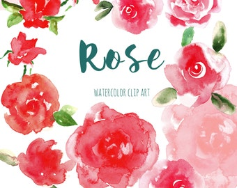 Watercolor clipart, red flower Digital clipart hand drawn. Rose. Romantic wedding, tender red rose, pink flowers cards, invitations