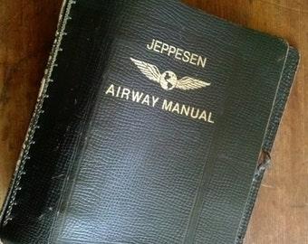 Vintage Leather Binder Jeppesen Airway Manual Binder Top Grain Cowhide Brown Leather Gold Embossed Office Supplies Organizer Vintage Office