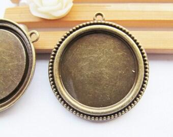 Antique bronze Round Base Setting Bezel Tray Bezel Pendant Charm/Finding,Caved Border,fit 25mm Round Cabochon/Cameo