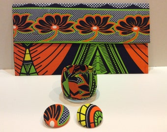 Ankara Clutch Set - clutch, one bangle, & large earrings ***As-Is