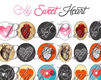 My Sweet Heart - Page digital images for cabochons - 60 images