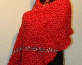 Shawl / wrap / stole / scarf, hand woven red wool/acrylic yarn