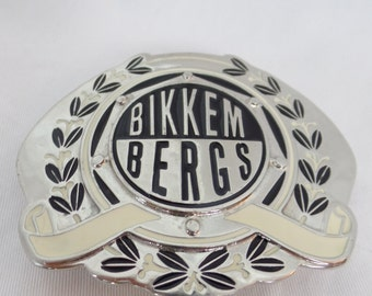 90s Dirk Bikkembergs enamled chrome giant belt buckle/ olive branch and hexagon badge/made in Italy