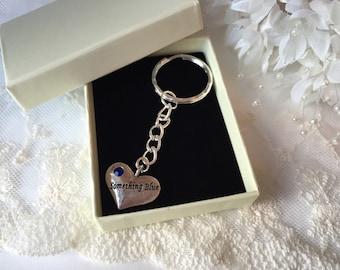 Something Blue Gift Key Chain Bouquet Charm Memento Keepsake