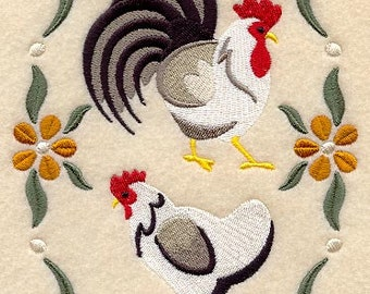 Country Chickens Embroidered Tea Towel