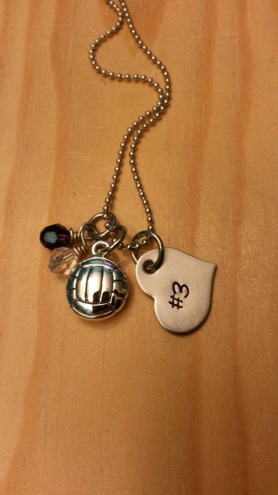 Hand stamped volleyball necklace girls by blackwolfdesigns21 for How do you make hand stamped jewelry