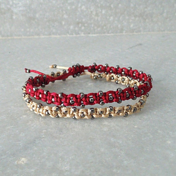 Boho style stacked bracelets set of two beige and red ...