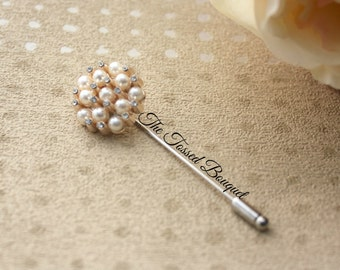 Groom Boutonniere, Gold, Pearl Rhinestone Brooch, Men, Wedding, Bridal, Lapel Pin, Buttonhole, Prom, Boutineer, Groomsmen, Best Man, Father