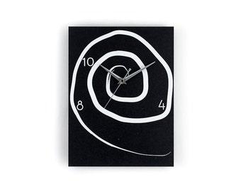 Wall Clock made of Black MDF - Handmade screenprinted -Original Berlin product