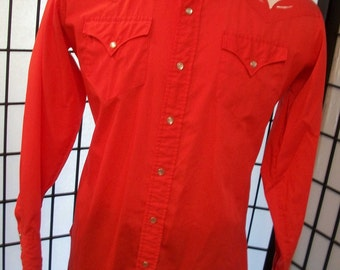 H Bar C California Ranchwear 1970's men's red with twirling top snap western shirt 17 1/2 35 l xl