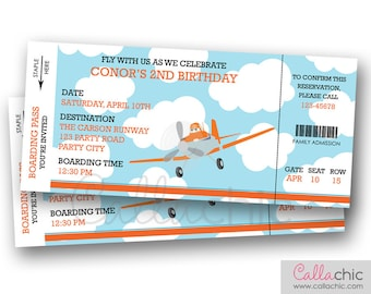 Disney Planes Invitation PRINTABLE - Airplane Boarding Pass Ticket Invitation - Dusty Crophopper Inspired Aeroplane Plane Boy Birthday Party