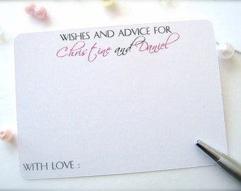 Wishes and advice cards for bride and groom, wedding comment cards, wedding guest book - 30 cards