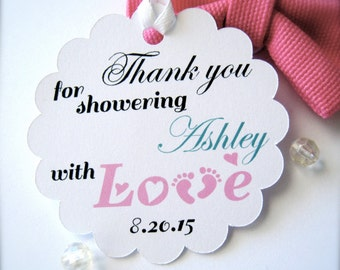 Custom baby shower favor tags, tags for baby shower favors, thank you tags, favor labels, baby feet tags, scalloped tags - 30 count(bas1)