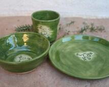 Green Frog Children's Dinnerware handmade ceramic Cup and Bowl kids breakfast set kid's dinnerware child dishes childrens gift for kids
