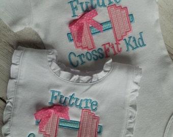 Future Crosstrainer Baby Gift Set Appliqued Monogrammed bodysuit bib t-shirt