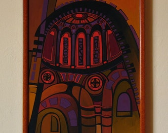 FLAME - Original painting from the cycle ARCHES,  architectural painting