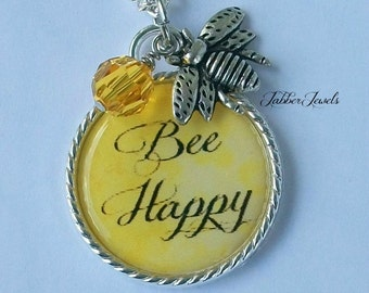 Inspirational Quote Necklace, Inspiration Be Happy Pendant Handmade