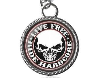 Biker Necklace, Live Free, Ride Hardcore, Motorcycle Image Pendant Key Chain Handmade
