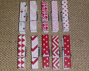 Mini valentine's clothespins- set of 10