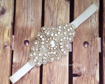 Rhinestone headband, white headband, flower girl headband, wedding headband, dressy headband, formal headband, halo, baby headband,