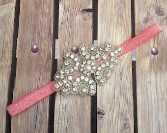 Rhinestone headband, coral headband, flower girl headband, wedding headband, dressy headband, formal headband, halo, baby headband, coral