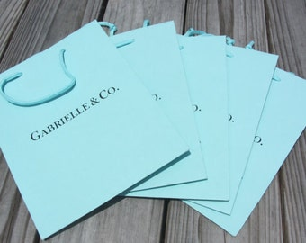 100 Pack - BRIDE & Co. Custom Personalized Ink Printed Turquoise Gift Bags 5.5x3.5x6 Favor Gift Bags