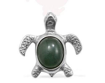 Brazilian Aventurine Turtle Pendant without Chain Silver- tone TGW 9.50 cts.