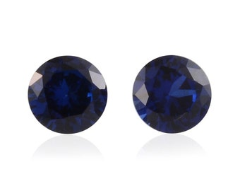 Blue Sapphire Synthetic Lab Created Set of 2 Loose Gemstones Round Cut 1A Quality 5mm TGW 1.10 cts.