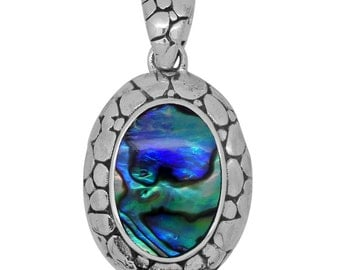 Abalone Shell Oval Pendant without Chain in Sterling Silver Nickel Free TGW 10.00 Cts.