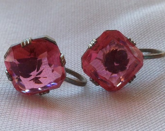 1930s Czech Art Deco Large Pink Stone Screw Back Earrings