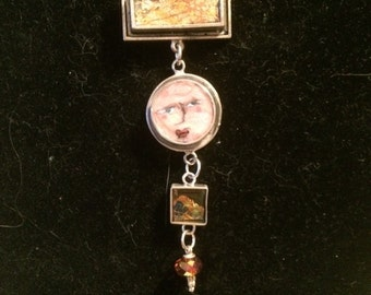 4-tiered Sterling silver & mixed media pendant