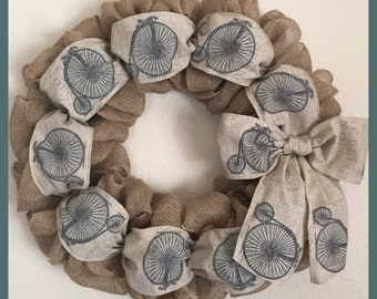 "24"" Burlap Wreath W/Bicycle Ribbon"