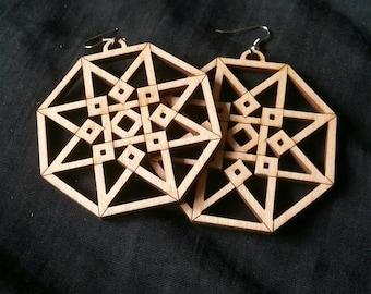 Hypercube wood earrings