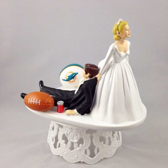 miami dolphin wedding cake toppers wedding cake topper football themed by creationsbydhyani 17330
