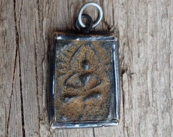 Small Brass or Bronze Rustic Seated Buddha Pendant from Thailand