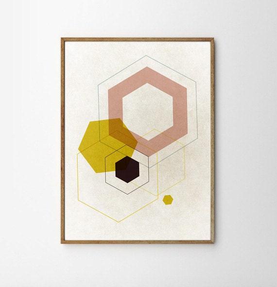 Mid century art living room art retro geometric art by fybur for 1950s minimalist house