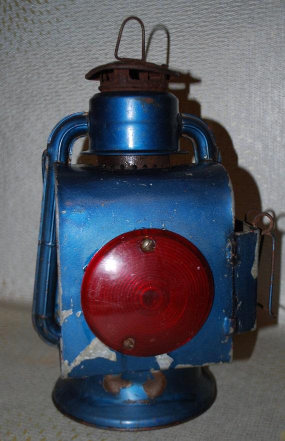 Vintage Blue Dietz Railroad Lantern