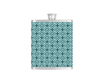 Light Blue Moroccan Wallpaper Bridesmaid Gift  *** FREE FUNNEL INCLUDED *** - Stainless Steel 8 oz Liquor Hip Flask - Flask#47
