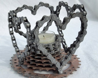 Repurposed bicycle candle holder Valentines day hearts