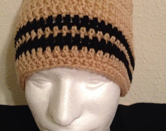 Beige and Black Beanie