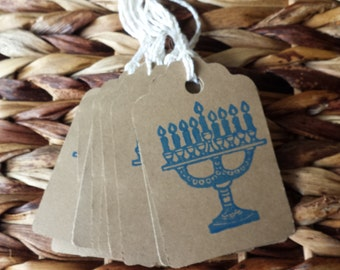Hanukkah gift tags, kraft colored Hanukkah tags