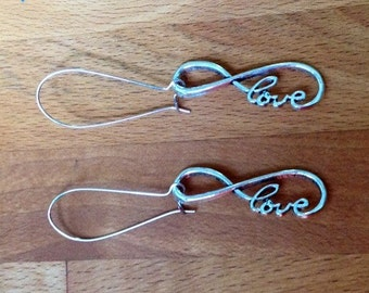 Infinity, love, silver earrings