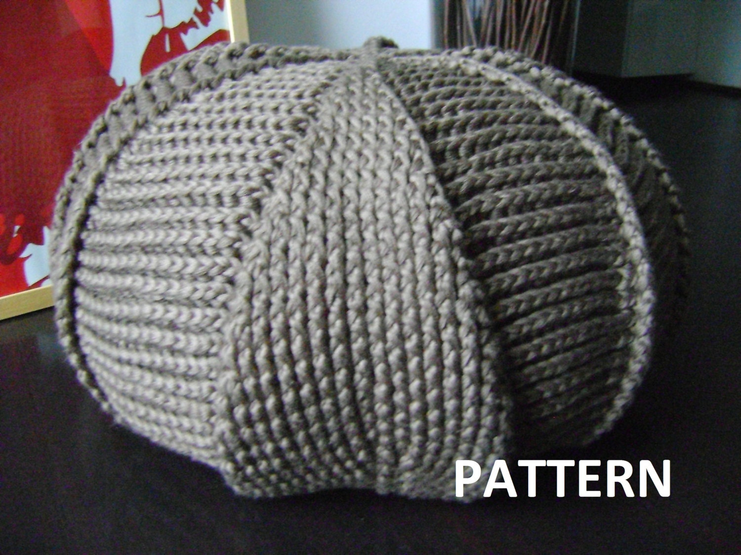Knitted Ribbing Patterns : PDF Pattern Large Crochet Pouf Poof Ottoman Footstool by isWoolish