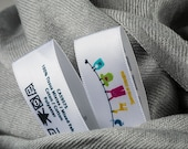 1000 Multicolor Custom Printed Labels in Full Color Printed Satin Care Labels. Washable Labels & Sewing Tags For Clothing Apparel Care.