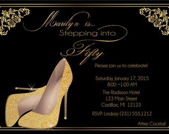 50th Birthday Invitation -  Birthday Invite for Ladies - Gold Glitter Shoes Elegant Birthday Invitation