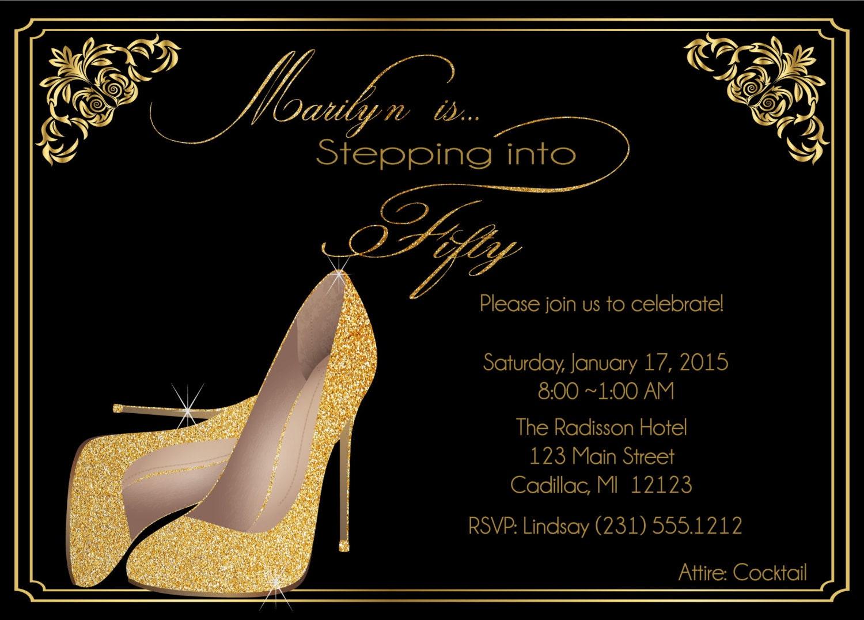 50th birthday invitation birthday invite for ladies gold zoom monicamarmolfo Image collections
